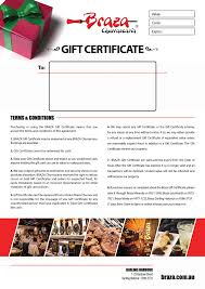 Brazas Gift Certificate Name Your Amount