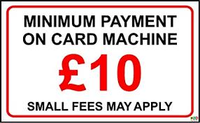 Minimum Credit Card Payment Minimum Payment 10 Credit Debit Card Decal Sticker Shop Hotel Taxi 150mm X 100mm