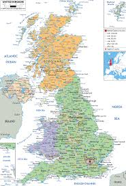 detailed political map of united kingdom  ezilon map
