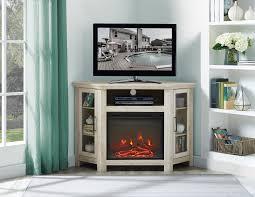 walker edison corner fireplace tv stand for tv s up to 52 white oak com