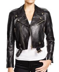 women s belted black cropped leather jacket