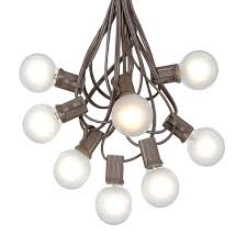 picture of 100 g40 globe string light set with frosted white bulbs on brown wire