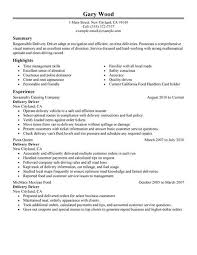 Delivery Driver Resume Examples Examples Of Resumes