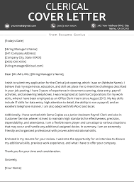 Clerical Cover Letter Example Tips Resume Genius