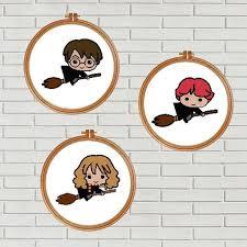 Set Of 3 Harry Potter Cross Stitch Pattern Harry Potter