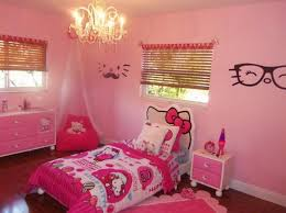 Pink Girls Bedroom And Hello Kitty Themes Ideas Also Classy Chandelier Sets  Up And Bedding Quilt Sheets And Eyeglasses Stickers Wall Art And Wood Floor  ...