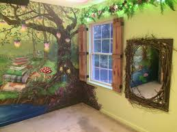 Enchanted forest bedroom - Mural, board and batten shutters, enchanted  mirror for the little