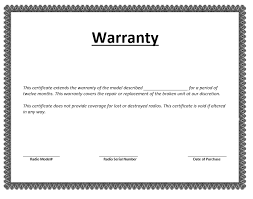 Warranty Certificate Template Word Templates For Free Download