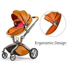 ホットマムベビーカーストローラーバシネット leather skin baby stroller 2016 hot mom 3 in 1