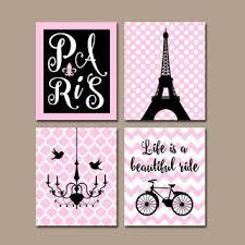paris wall art canvas or prints eiffel tower decor pink black