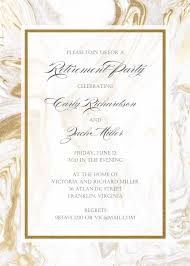 Invitation Cards Designs For Retirement Party Foil Pressed Marble Retirement Invitations Retirement