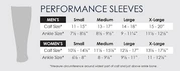 Calf Size Chart Mens Performance Sleeves