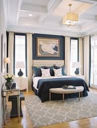 traditional blue bedroom designs. Like The Dark Walls And Cream Floor Length Curtains. Bedroom - Beautiful White/cream Blue Decor Coffered Ceiling French Doors Traditional Designs B