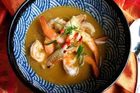 Asian seafood crab prawn fish soup ...