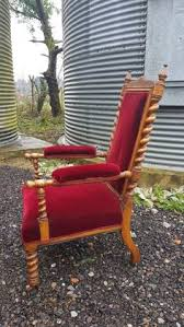 grand red velvet and oak barley twist throne chair circa 1890 previously used as a clergy