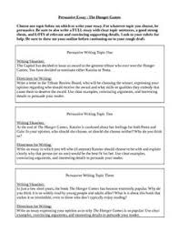 making your essay persuasive powered by the writing wizards of    hunger games persuasive essay  grades      this   includes five topics