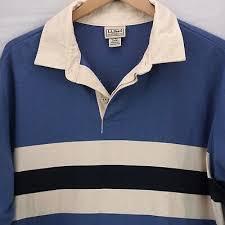 ll bean long sleeve rugby shirt blue striped cotton mens size l tall lt