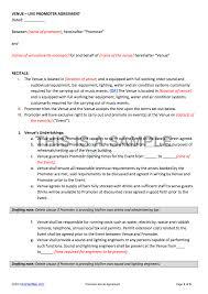 Venue Contract Template Promoter Venue Contract