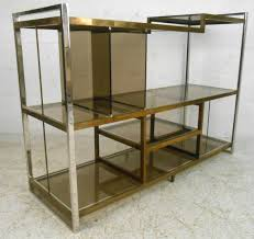 Glass Bookshelf Mid Century Modern Milo Baughman Chrome Brass And Glass Low