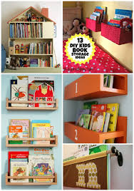 a diy wall book display with baskets