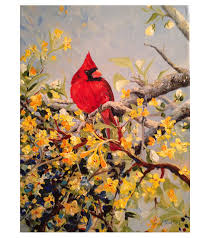 cardinal sitting in branches acrylic on canvas painting