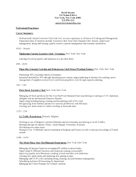 Career Summary Of Professional Trained Executive With Chef Resume