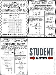student friendly systems of equations notes
