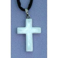 white shell natural stone cross necklace 26 inch cord nsc 35