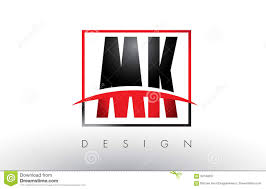 Mk Logo Design Vector Mk M K Logo Letters With Red And Black Colors And Swoosh