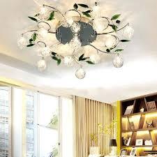 chrome flush mount light 6 lights crystal chandelier modern for living room bedroom crystal and home