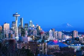 Seattle Cityscape Seattle Skyline During The Blue Hour