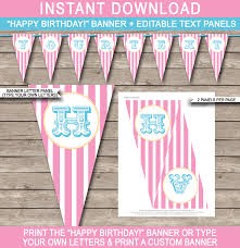 make your own birthday banner pink carnival banner template circus banner editable bunting