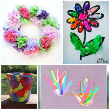 Paper Flower Crafts For Kindergarten Beautiful Tissue Paper Crafts For Kids What Can We Do With Paper