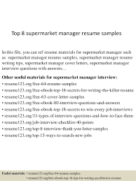 Supermarket Manager Resumes Top 8 Supermarket Manager Resume Samples
