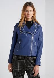 jadory leather jacket bright blue