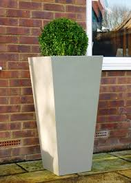 tall square white outdoor planters with beautiful natural green