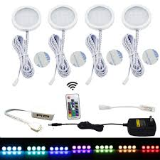 aiboo rgb led under cabinet lighting kit 4 pack color changing puck lights with wireless rf remote control for kitchen furniture xmas decoration
