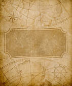 Old Map Cover Template Or Background Drawing K30346553