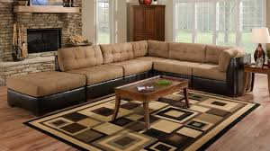 camel fabric sectional sofa w dark brown faux leather base intended for faux leather sectional