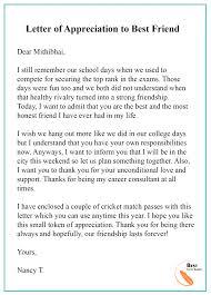 Gratitude Letter Template Appreciation Letter Template To Friend Format Sample