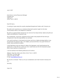 Receptionist Cover Letter Examples Info Front Office Sample