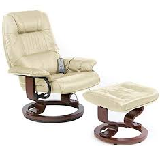 massage chair and footstool. restwell napoli swivel recliner cream leather effect massage chair with round base footstool and