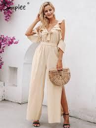 Buy Simplee <b>Women's Jumpsuit Elegant</b> Solid Color <b>V Neck</b> Loose ...