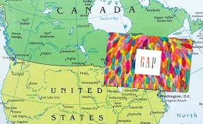 gap gift card on map of canada us border