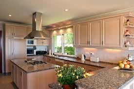 U-shaped kitchen with oven in island