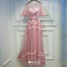 <b>Lovely Candy</b> Pink Formal Dresses <b>2017</b> Lace Flower Strappy ...