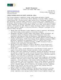 Keith Frederick-CISO Resume. 1 of 3 Keith P. Frederick CISSP, CAP, CRISC,  PMP, ...