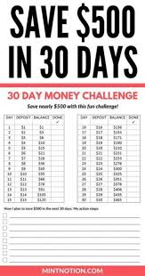 Save 500 In 30 Days With This Simple Money Challenge Chart
