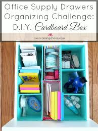 Decorating Cardboard Boxes Office Supply Drawers Organizing Challenge DIY Cardboard Box 66