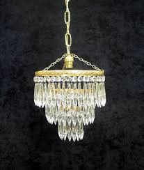 art deco three tier crystal glass chandelier